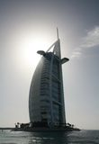 Silhouette of the Burj al Arab hotel Stock Images