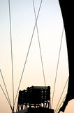 Silhouette of burner in hot air balloon. Burner, rigging and curve of hot air balloon is shown in silhouette against the morning sky Royalty Free Stock Images
