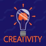 A burning light bulb with an image inside the brains. Concept of the idea. Vector illustration. stock illustration