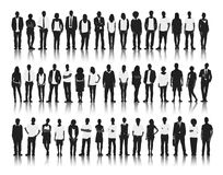 Silhouette of Business and Casual People Stock Images