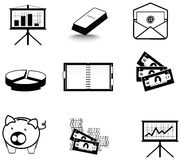 Silhouette business and economic icon collection s Stock Photo