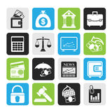 Silhouette Business, finance and bank icons. Vector icon set Stock Photo