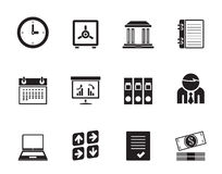 Silhouette Business, finance and office icons Stock Photography