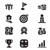 Silhouette Business goal Concept icons set Stock Image
