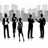 Silhouette business group Stock Photo