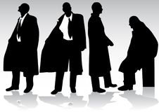 Silhouette of business man Stock Photos