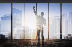 Silhouette of business man over city background Royalty Free Stock Photography
