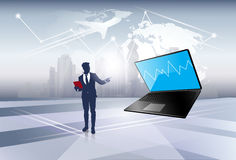 Silhouette Business Man Point On Laptop Computer Social Network Communication Stock Photos