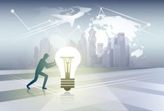 Silhouette Business Man Pushing Light Bulb New Idea Concept Over World Map Background Stock Photography