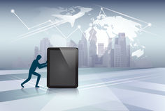 Silhouette Business Man Pushing Tablet Computer Electronic Gadget Network Communication Stock Photo