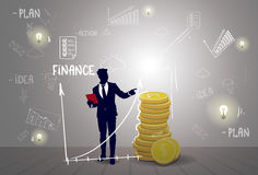 Silhouette Business Man With Sketch Financial Graphic Finance Success Report. Flat Vector Illustration Royalty Free Stock Images