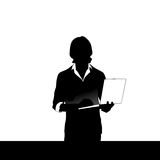 Silhouette Business Man Using Laptop Typing Working. Flat Vector Illustration stock illustration