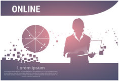 Silhouette Business Man Using Laptop Typing Working Online. Flat Vector Illustration Stock Photo