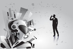 Silhouette Business Man Wear Virtual Reality Digital Glasses See Modern Robot. Vector Illustration Stock Images