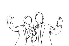 Silhouette Of Business Man And Woman Hand Gesturing Speaking, Doodle Businessman Point Finger Meeting Discussion. Vector Illustration royalty free illustration