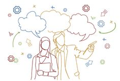 Silhouette Business Man And Woman Hand Gesturing Speaking Over Doodle Background Meeting Discussion Concept. Vector Illustration stock illustration
