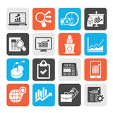 Silhouette Business and Market analysis icons Royalty Free Stock Photo
