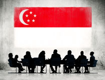 Silhouette of Business Meeting In Singapore Royalty Free Stock Photo