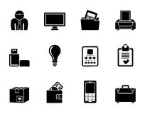 Silhouette Business and office equipment icons Stock Photography