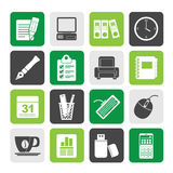 Silhouette Business and office equipment icons Stock Images