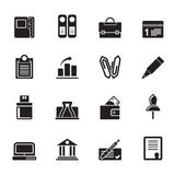 Silhouette Business, Office and Finance Icons Royalty Free Stock Images