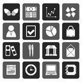 Silhouette Business and Office icons. Vector icon set Stock Images