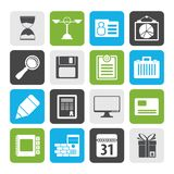 Silhouette Business and office icons. Vector icon set Royalty Free Stock Photos