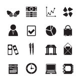 Silhouette Business and Office icons Stock Photography