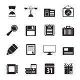 Silhouette Business and office icons Stock Images