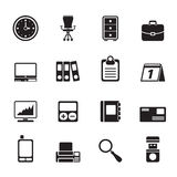 Silhouette Business and office icons Stock Photos