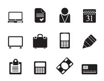 Silhouette Business and office icons. Vector icon set Royalty Free Stock Photo