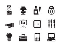 Silhouette Business and office icons. Vector icon set Royalty Free Stock Photography