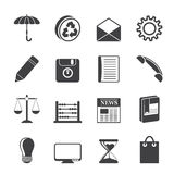 Silhouette Business and Office internet Icons Stock Photos