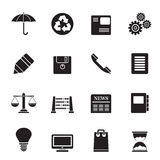 Silhouette Business and Office internet Icons Stock Photo