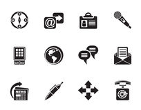 Silhouette Business, office and internet icons Stock Photography