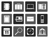 Silhouette Business, Office and Mobile phone icons. Vector Icon Set Stock Image