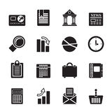 Silhouette Business and Office Realistic Internet Icons Royalty Free Stock Photos