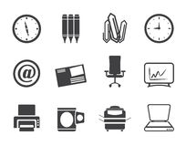 Silhouette Business and Office tools icons Stock Photo