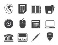 Silhouette Business and Office tools icons Stock Images