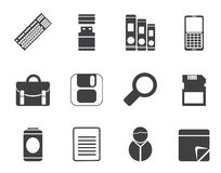 Silhouette Business and Office tools icons Royalty Free Stock Image