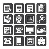 Silhouette Business and office tools icons Royalty Free Stock Photos