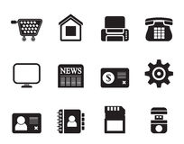 Silhouette Business, office and website icons Royalty Free Stock Photo