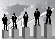 Silhouette of business people. With diagram royalty free illustration