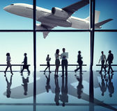Silhouette of Business People with Airplane Concepts Royalty Free Stock Photos