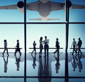 Silhouette of Business People with Airplane Concepts Royalty Free Stock Image
