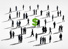 Silhouette of Business People Around the Dollar Sign Stock Image