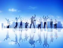 Silhouette Business People Celebration Success Cityscape Concept Stock Image