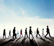 Silhouette Business People Commuter Walking Rush Hour Concept Stock Images