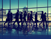 Silhouette Business People Commuter Walking Rush Hour Concept Royalty Free Stock Photos