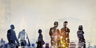 Silhouette Business People Commuter Walking Rush Hour Concept Royalty Free Stock Photo